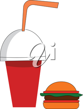 Soda cup and burger vector illustration on white background