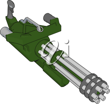 3D vector illustration on white background  of a military machine gun