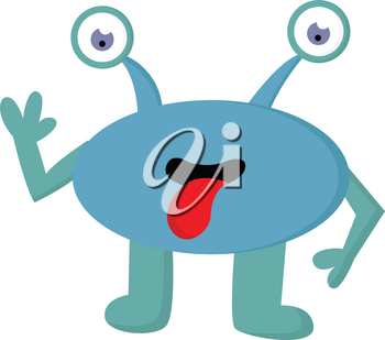 A blue monster with two antennae shaped eyes and teal colored hands and legs having its tongue hanging out vector color drawing or illustration
