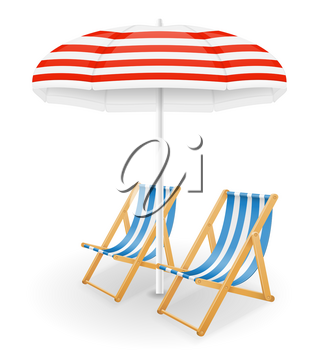 beach attributes umbrella and deck chair stock vector illustration isolated on white background