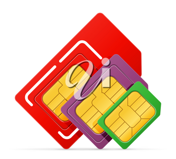 sim card chip for use in digital communication phones stock vector illustration isolated on white background