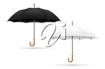 white and black classical umbrella from rain stock vector illustration isolated on background