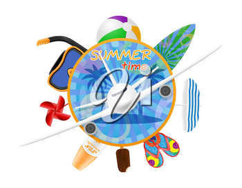summer time banner poster with airplane and items for a beach holiday stock vector illustration isolated on white background