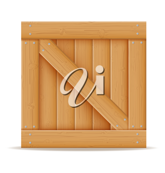 wooden box for the delivery and transportation of goods made of wood cartoon stock vector illustration  isolated on white background