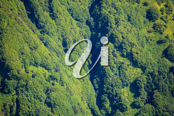 Closeup view of th walls covered with forest of crater of Lagoa das Sete Cidades