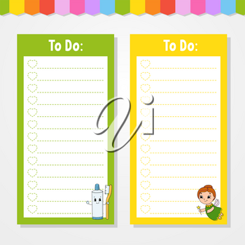 To do list for kids. Empty template. The rectangular shape. Isolated color vector illustration. Funny character. Cartoon style. For the diary, notebook, bookmark.