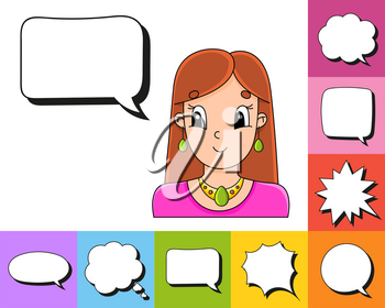 Set of speech bubbles of different shapes. With a cute cartoon character. Beautiful cute fashionable girl with jewelry. Vector illustration. Comic style.