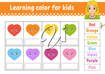 Learning color for kids. Education developing worksheet. Activity page with color pictures. Riddle for children. Isolated vector illustration. Pretty girl. Funny character. Cartoon style.