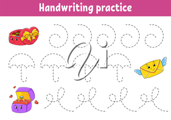Handwriting pactice. Education developing worksheet. Activity page. Valentine's Day. Color game for children. Isolated vector illustration. Cartoon character.