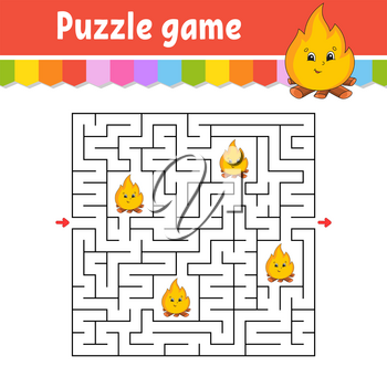 Square maze. Game for kids. Puzzle for children. Labyrinth conundrum. Color vector illustration. Find the right path. Isolated vector illustration. Cartoon character.