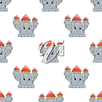 Colored cartoon seamless pattern. Cartoon style. Hand drawn. Vector illustration isolated on white background.