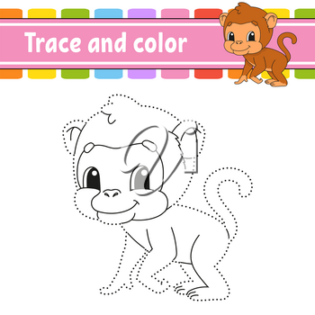 Trace and color. Coloring page for kids. Handwriting practice. Education developing worksheet. Activity page. Game for toddlers. Isolated vector illustration. Cartoon style.