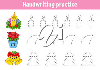 Handwriting pactice. Christmas theme. Education developing worksheet. Activity page. Color game for children. Isolated vector illustration. Cartoon character.
