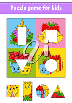 Puzzle game for kids. Cut and paste. Christmas theme. Cutting practice. Learning shapes. Education worksheet. Circle, square, rectangle, triangle. Activity page. Cartoon character.