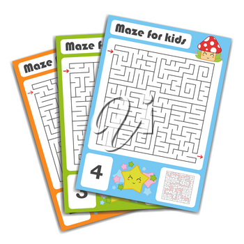 Square maze. Game for kids. Puzzle for children. Labyrinth conundrum. Color vector illustration. Find the right path. The development of logical and spatial thinking.