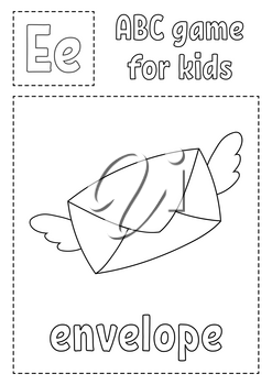 Letter E is for envelope . ABC game for kids. Alphabet coloring page. Cartoon character. Word and letter. Vector illustration.