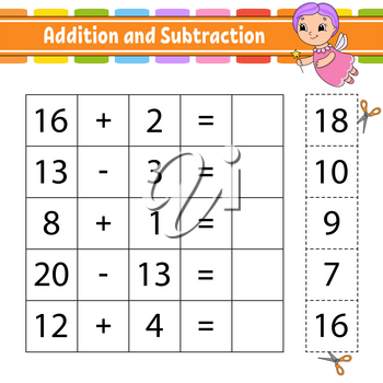 Addition and subtraction. Task for kids. Cut and paste. Education developing worksheet. Activity page. Game for children. Funny character. Isolated vector illustration. Cartoon style.