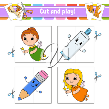 Cut and play. Flash cards. Color puzzle. Toothpaste, fairy, pencil. Education developing worksheet. Activity page. Game for children. Funny character. Isolated vector illustration. Cartoon style.