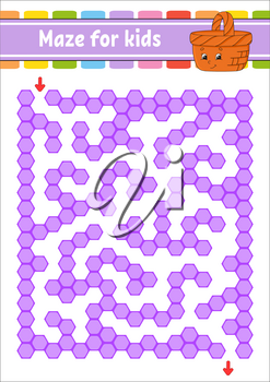 Rectangular color maze. Game for kids. Funny labyrinth. Education developing worksheet. Activity page. Puzzle for children. Cartoon character. Logical conundrum. Vector illustration.