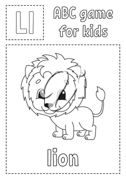 Letter L is for lion. ABC game for kids. Alphabet coloring page. Cartoon character. Word and letter. Vector illustration.