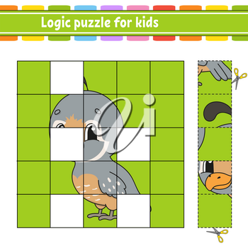 Logic puzzle for kids. Quail bird. Education developing worksheet. Learning game for children. Activity page. Simple flat isolated vector illustration in cute cartoon style.