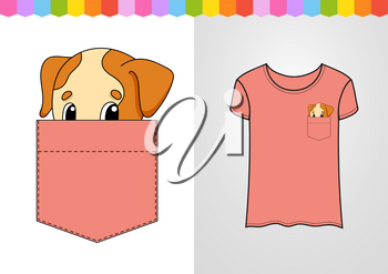 Cute character in shirt pocket. Dog animal. Colorful vector illustration. Cartoon style. Isolated on white background. Design element.