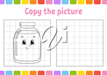 Copy the picture. Coloring book pages for kids. Education developing worksheet. Glass jar. Game for children. Handwriting practice. Funny character. Cute cartoon vector illustration.