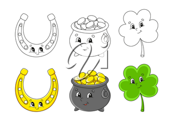 Set coloring page for kids. St. Patrick's Day. Pot of gold. Cute cartoon characters. Clover shamrock. Golden horseshoe. Black stroke. Vector illustration. With sample.