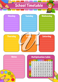 School timetable with multiplication table. For the education of children. Isolated on a white background. With a cute cartoon character.