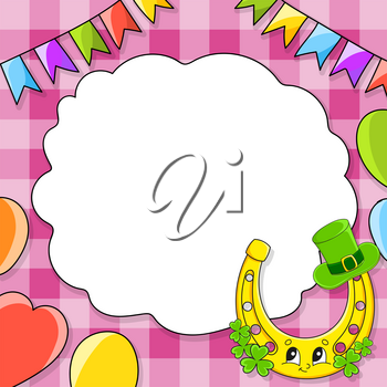 Festive color vector illustration with empty place for text. Cartoon character, balloons, garlands. For the design of greeting cards, birthdays, stickers. St. Patrick's day.