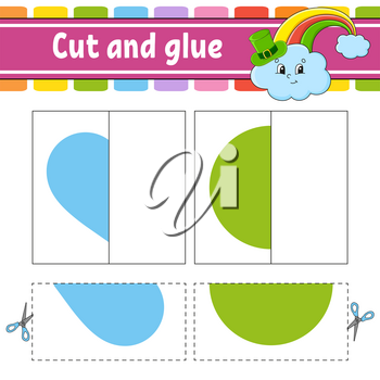 Cut and play. Paper game with glue. Flash cards. Education worksheet. Rainbow, circle, heart. Activity page. Funny character. Isolated vector illustration. Cartoon style.