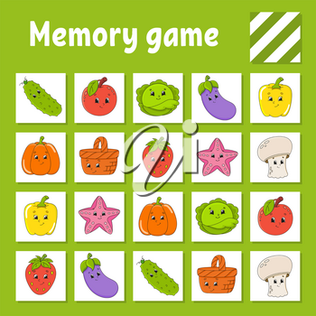 Memory game for kids. Education developing worksheet. Activity page with pictures. Puzzle game for children. Logical thinking training. Isolated vector illustration. Funny character. Cartoon style.