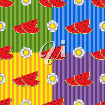 Seamless pattern of delicious red watermelon slices and white flowers on a multicolored striped background. Four Designs