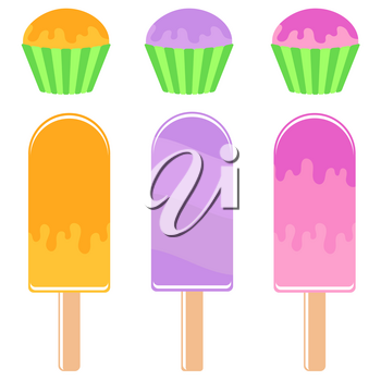 Set of flat colored insulated Popsicle drizzled with icing cakes and muffins in baskets. On a white background.