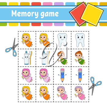 Memory game for kids. Education developing worksheet. Activity page with pictures. Puzzle game for children. Logical thinking training. Isolated vector illustration. Funny character. Cartoon style