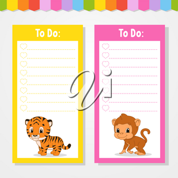 To do list for kids. Empty template. Isolated color vector illustration. Funny character. Cartoon style. For the diary, notebook, bookmark.