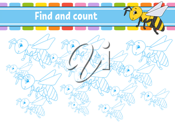 Find and count. Education developing worksheet. Activity page with pictures. Puzzle game for children. Logical thinking training. Isolated vector illustration. Funny character. Cartoon style