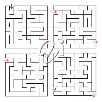 Abstract square isolated labyrinth. Black color on a white background. An interesting and useful game for children and adults. Simple flat vector illustration. Four options.