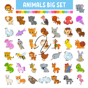 Set of stickers with cute cartoon characters. Hand drawn. Colorful pack. Vector illustration. Patch badges collection for kids. For daily planner, organizer, diary.