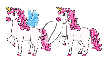 Cute unicorn with wings. Magic fairy horse. Cartoon character. Colorful vector illustration. Isolated on white background. Template for your design, books, stickers, cards, posters, clothes.