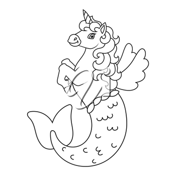 Cute mermaid unicorn. Magic fairy horse. Coloring book page for kids. Cartoon style. Vector illustration isolated on white background.