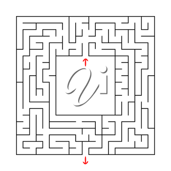 A square labyrinth with an entrance and an exit. Simple flat vector illustration isolated on white background. With a place for your image.