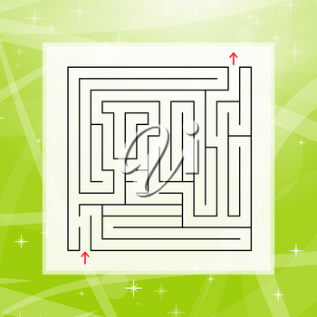 A square labyrinth. An interesting and useful game for children and adults. Simple flat vector illustration on a colorful abstract background