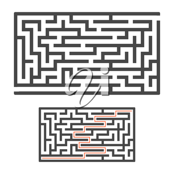 Abstract rectangular maze. Game for kids. Puzzle for children. One entrance, one exit. Labyrinth conundrum. Flat vector illustration isolated on white background. With answer