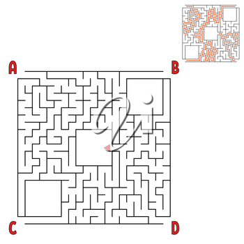 Square maze. Game for kids. Puzzle for children. Labyrinth conundrum. Flat vector illustration isolated on white background
