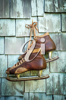 Vintage masculine leather ice skate  hanging on a green mint grunge wall