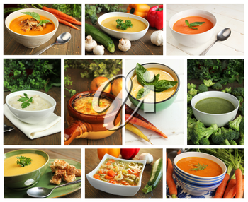 Collage showing different kind of soups