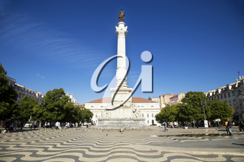 The Column of Pedro IV erected in 1874 on Rossio square, Lisbon, Portugal.  Image taken from the public street.