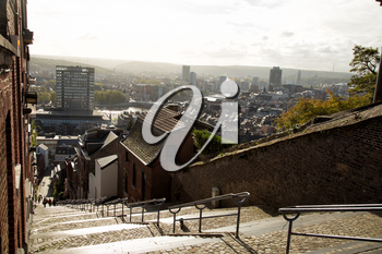 View of Montagne de Bueren, a 374-step staircase in Liege, Belgium with the view of the city