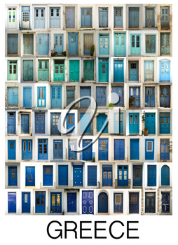 A collage of greek doors, classified by colors tonality and presented in a white border with the city name Greece.